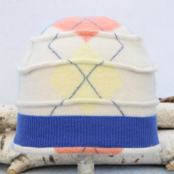 Beehive Hat B8163 White Argyle w/ Yellow, Peach Orange & Blue