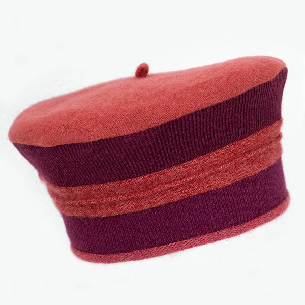 Beret BR0024 Red w/ Burgundy