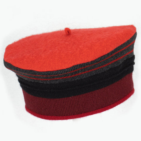 Beret BR0101 Red w/ Grey
