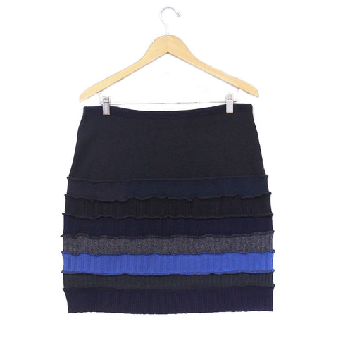 Banded Skirt BS0009 Black w/ Blue, Grey - XL