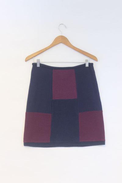 Block Skirt Navy Blue w/ Violet Purple