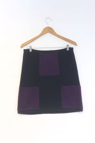 Block Skirt Navy Blue w/ Purple - Large
