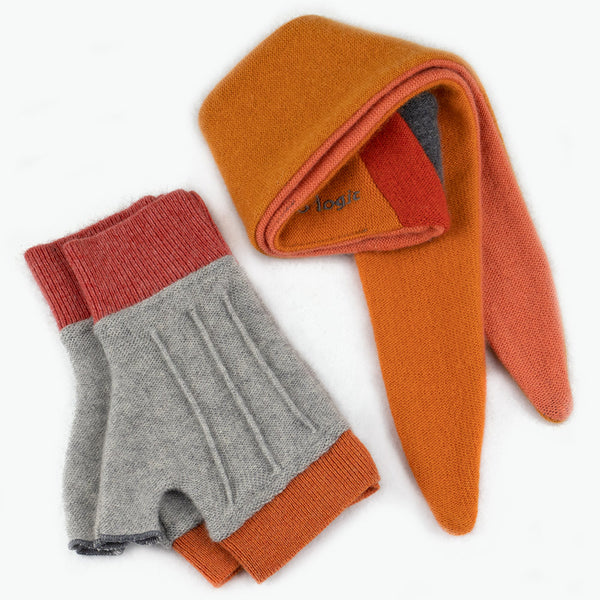 Cuff/Scarf Sets CS0101 Grey, Orange - Medium