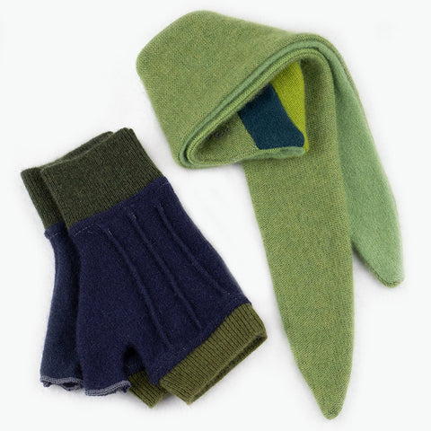 Cuff/Scarf Sets CS0102 Green, Blue - Medium