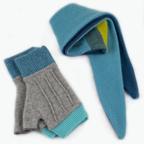 Cuff/Scarf Sets CS0104 Grey, Teal - Medium
