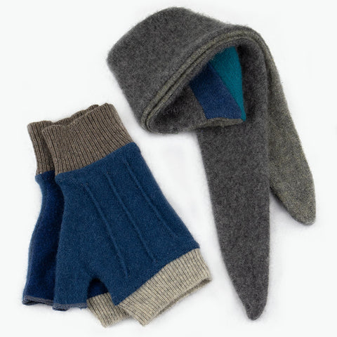 Cuff/Scarf Sets CS0105 Grey, Blue - Medium