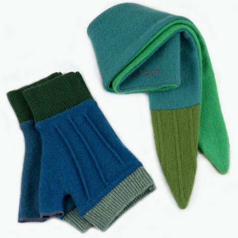 Cuff/Scarf Sets CS0108 Green, Blue - Medium