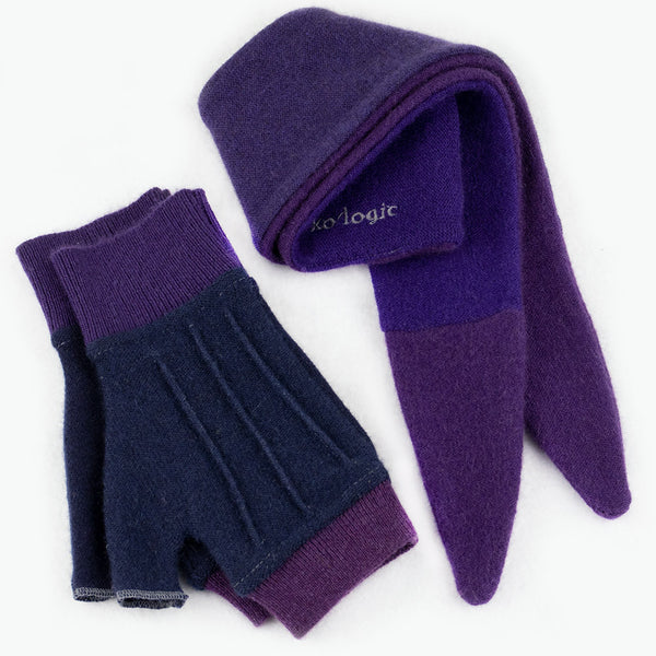 Cuff/Scarf Sets CS0110 Purple, Blue - Medium