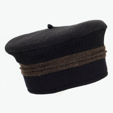 Beret BR0007 Black w/ Brown
