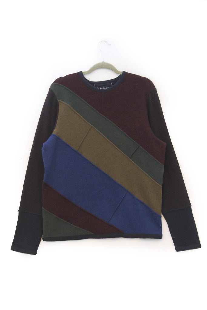Skylar Sweater Burgundy,Navy Blue & Olive Green - Large