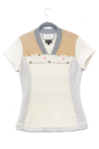 Pepper White & Grey w/ Camel, Polka Dot - Medium
