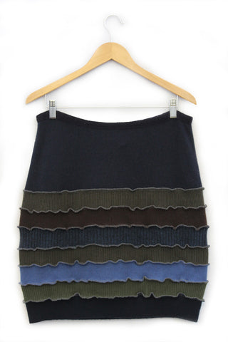 Banded Mini Skirt Navy Blue w/ Green, Brown - X-large