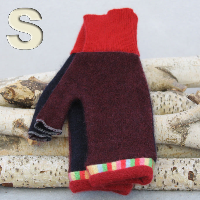 Fingerless Mitten - Small MS9439 Burgundy & Black w/ Red