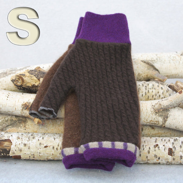 Fingerless Mitten MS9394 Chocolate Brown w/ Purple - Small