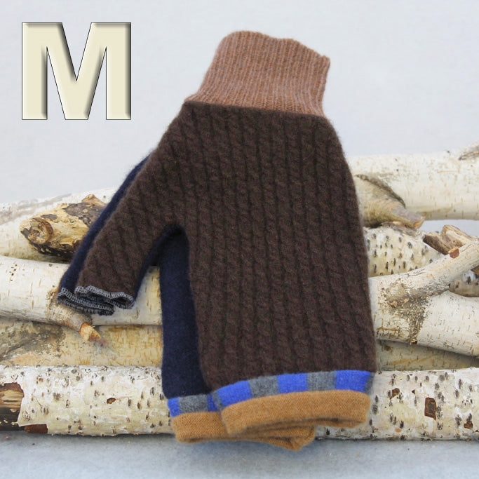 Fingerless Mitten - Medium MM9157 Chocolate Brown w/ Blue