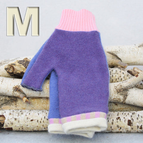 Fingerless Mitten - Medium MM9028 Purple & Blue w/ Pink