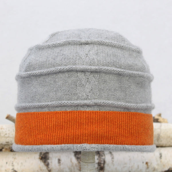Beehive Hat B9129 Grey Cable w/ Orange