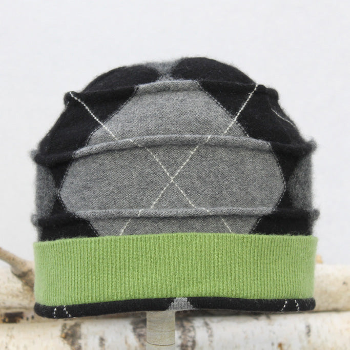Beehive Hat B9101 Black & Grey Argyle w/ Green
