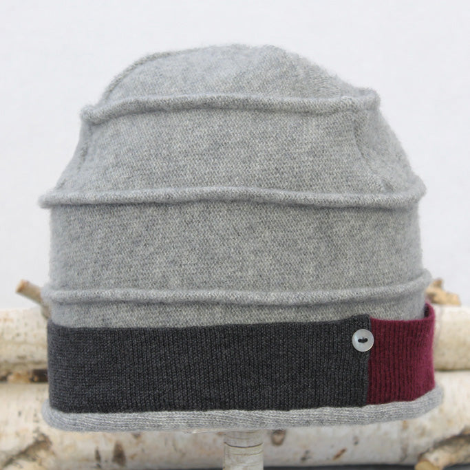 Beehive Hat B9198 Grey w/ Red