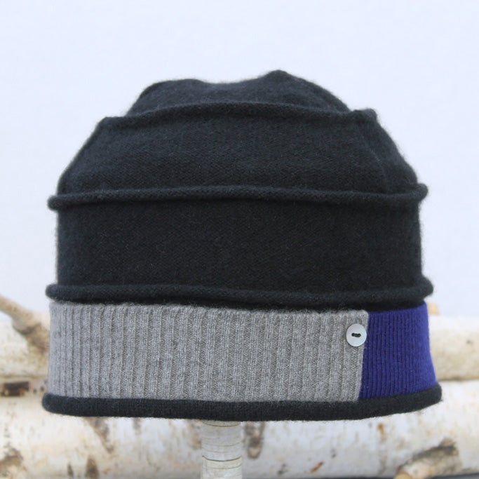 Beehive Hat B9204 Black w/ Grey & Blue