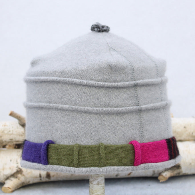 Saturn Hat S9191 Light Grey Split w/ Purple, Pink, Black & Olive Green