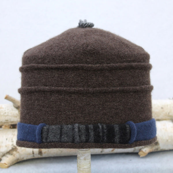 Saturn Hat S9229 Brown & Blue w/ Black & Charcoal Stripe
