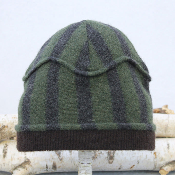 Gazebo Hat GZ9136 Green & Charcoal Stripe w/ Brown