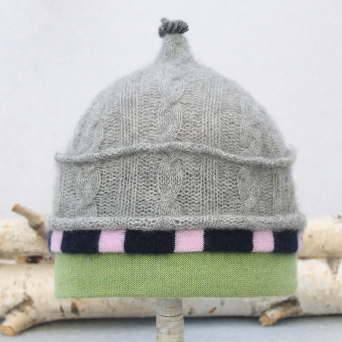 Onion Hat ON9076 Grey Cable w/ Navy & Purple