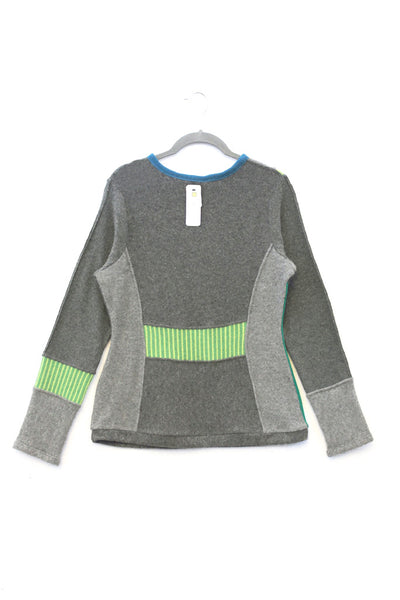 Trixie Sweater Grey w/ Green - Large