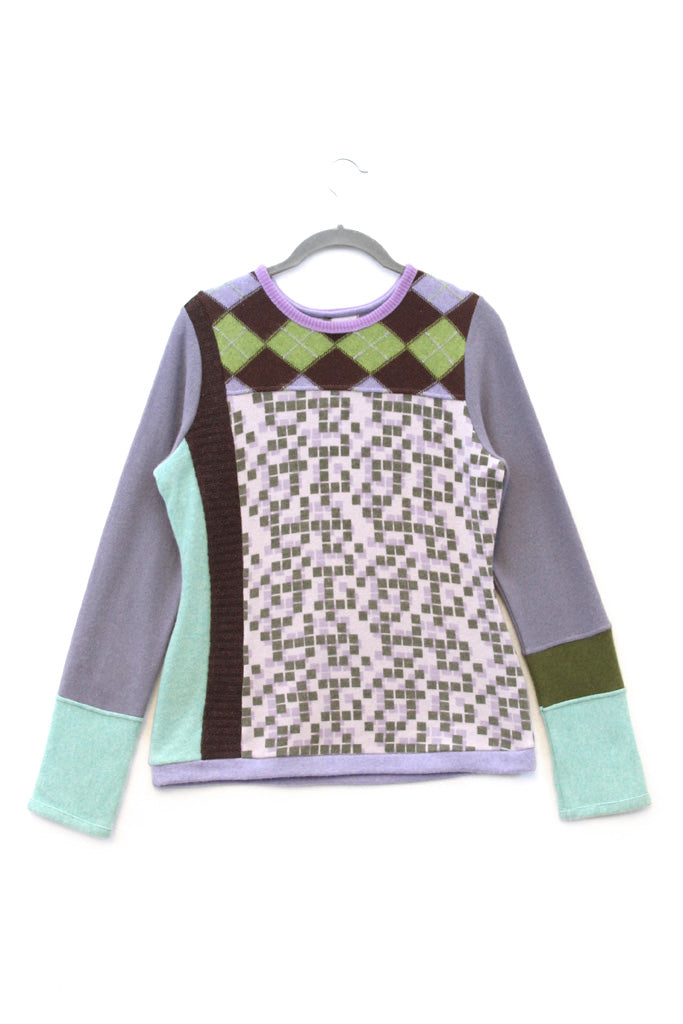 Trixie Pattern Purple, Green & Brown w/ Argyle - Large