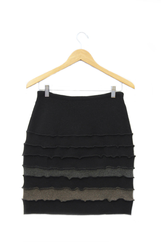Banded Mini Skirt Black w/ Grey & Mocha Brown - Medium