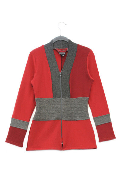 Julie Zip Red w/ Grey - X-small