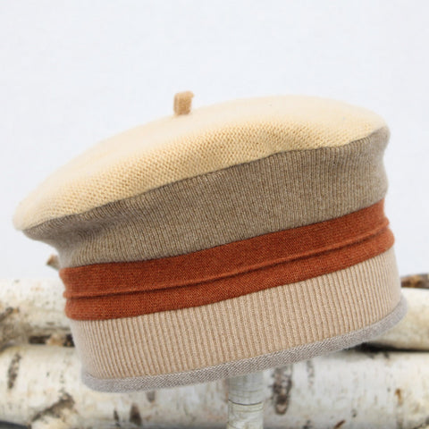 Beret MR9167 Yellow & Camel w/ Rust Orange