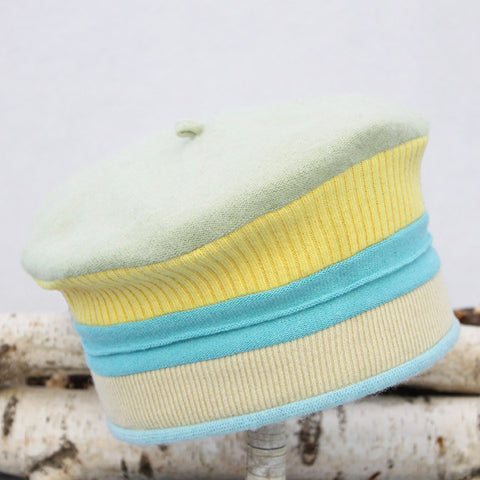 Beret BR2017 Yellow w/ Blue, Soft Green