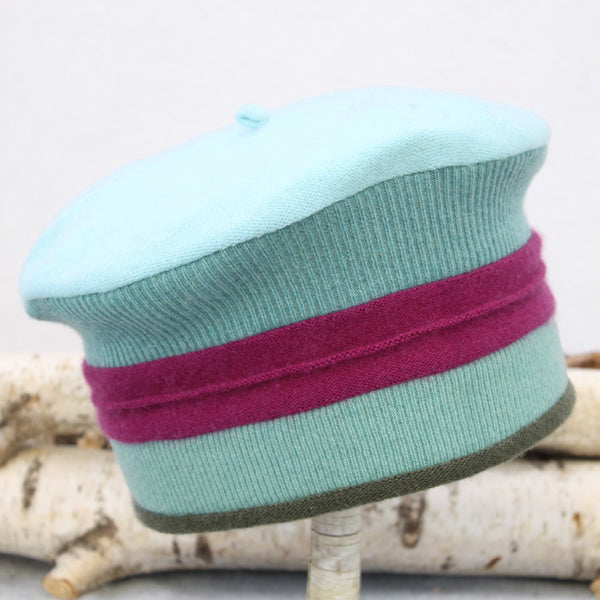 Muir Beret MR9163 Teal Green w/ Raspberry