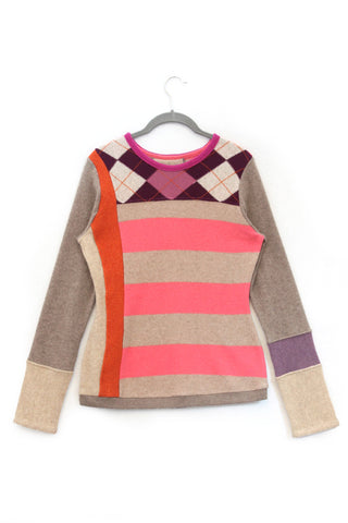Trixie Pattern Sweater Pink & Oat Stripe w/ Argyle - Medium