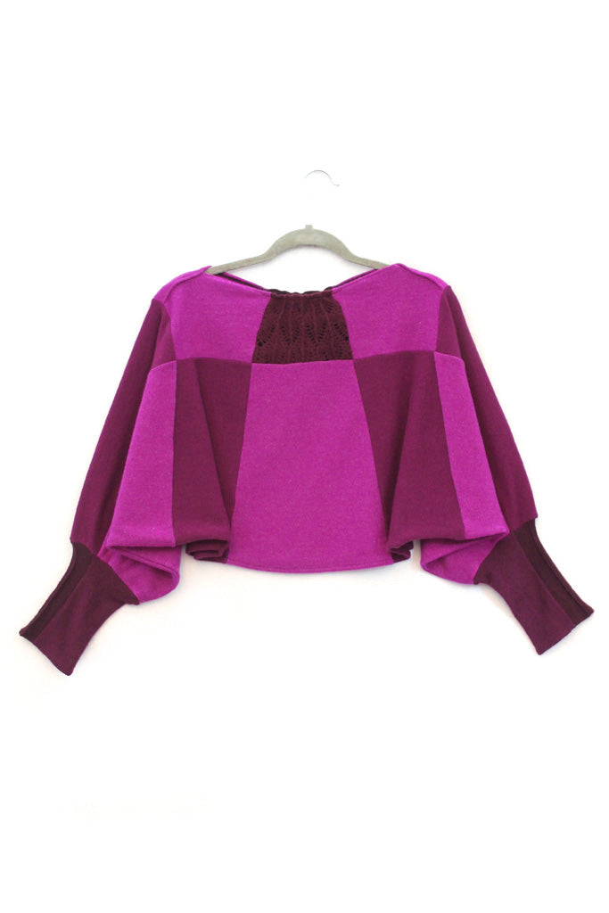 Butterfly Sweater Raspberry Pink w/ Lace Burgundy - Medium