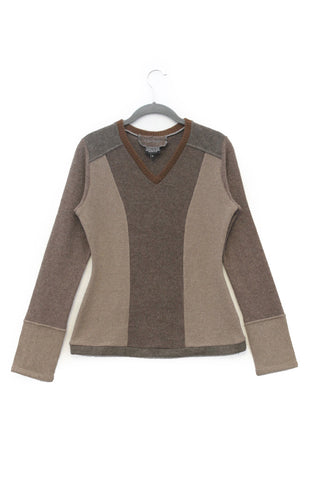 V-Neck Sweater Mocha Brown - Medium