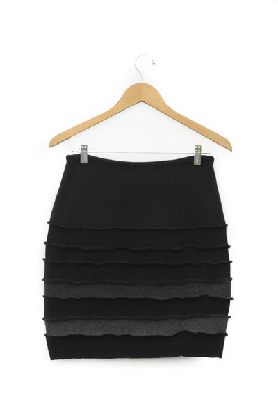 Banded Mini Skirt Black w/ Charcoal Grey - Medium