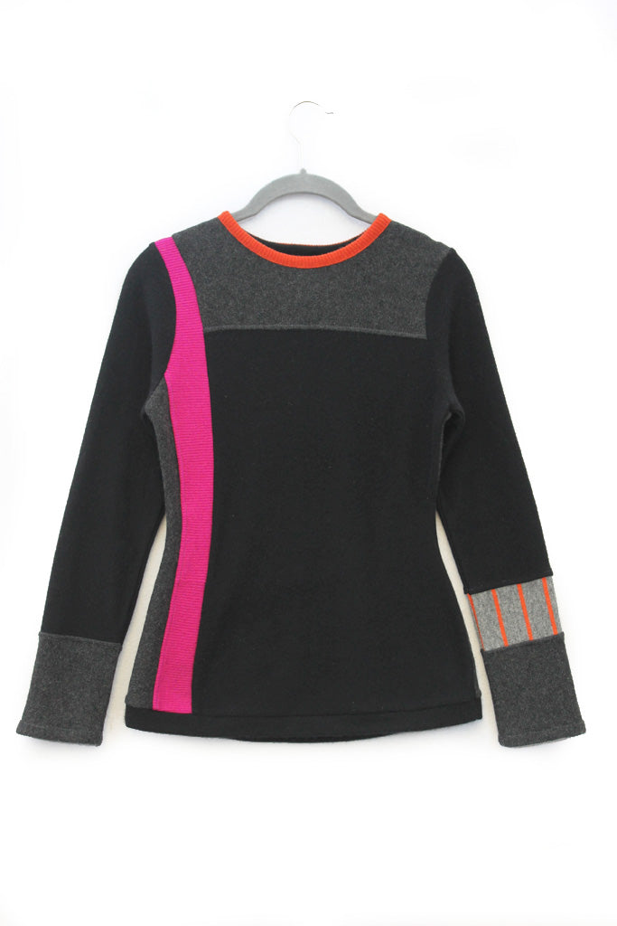 Trixie Sweater Black & Grey w/ Pink & Orange - X-Small