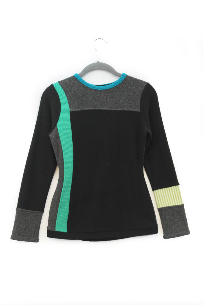 Trixie Sweater Black & Grey w/ Teal Green -X-Small