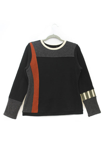 Trixie Sweater Black & Grey w/ Rust Orange - X-Large