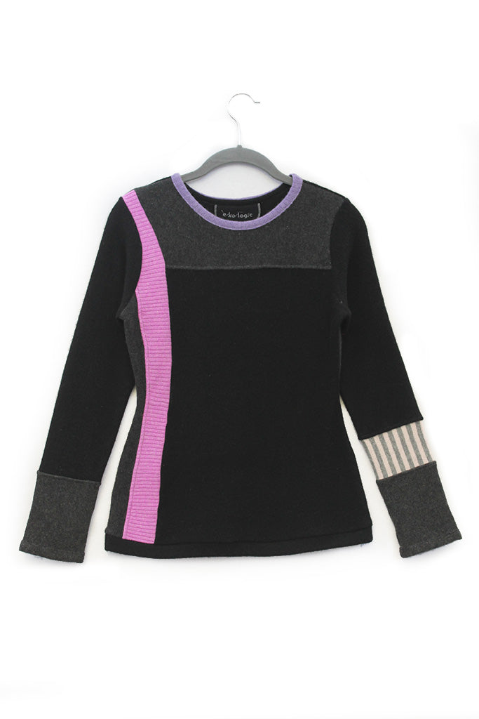 Trixie Sweater Black & Grey w/ Pink- Small
