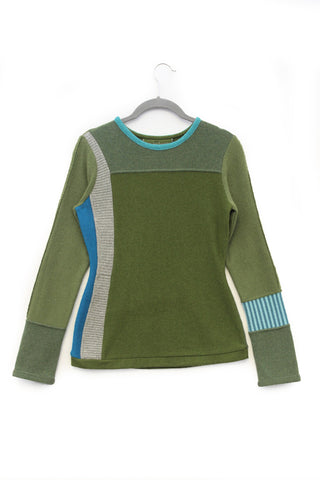 Trixie Sweater Olive Green w/ Teal - Small