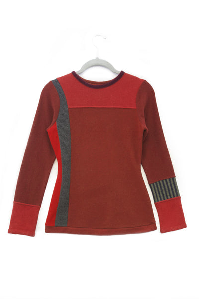 Trixie Sweater Red w/ Charcoal Grey & Navy - X-Small