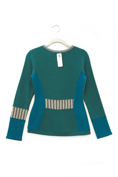 Trixie Sweater Teal Green & Blue - Small