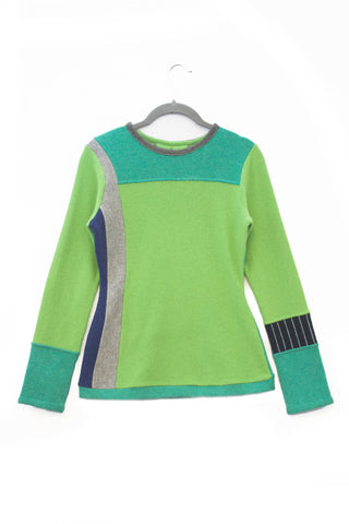 Trixie Sweater Green & Teal w/ Navy Stripe - Small