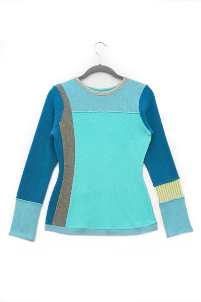 Trixie Sweater Teal Blue & Green - Small