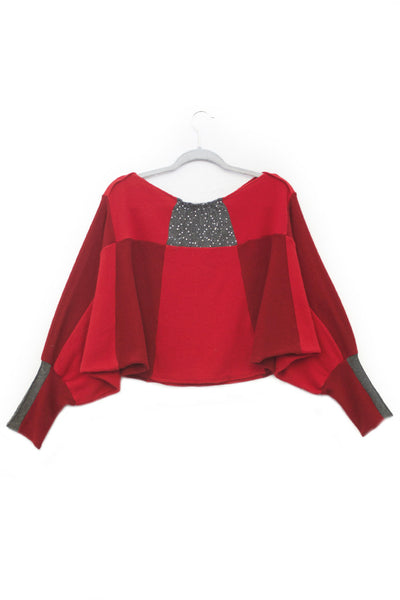 Butterfly Red w/ Grey Sequins- X-Large