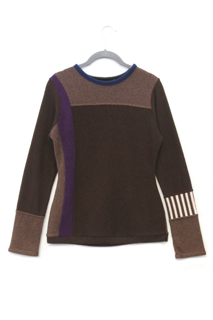 Trixie Sweater Brown w/ Purple - Medium